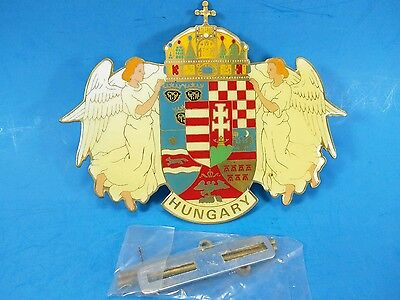 Hungary Flag Coat of Arms - Car Grill - Hungarian Pride - Brass