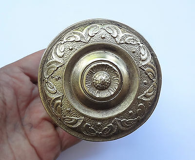 Vintage Solid Brass Door Push & Pull Handle + Back Plate Floral Theme # Free S/H
