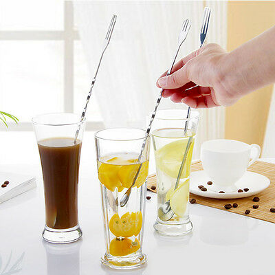 Shaker Twist Stirrer Mixing Spoon Fork Ladle Party Cocktail Drink Muddler Mixer