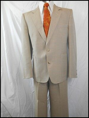 """Vintage 1970s Flair Light Brown Green Wool Blend 2-Piece Suit 40"""" Chest 34W"""