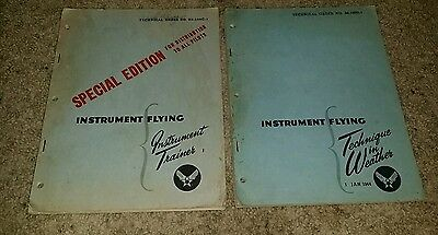 Vintage 1944 Instrument Flying Instruction Army Air Force Trainer + Weather WWII