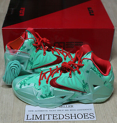NIKE LEBRON XI 11 CHRISTMAS GREEN GLOW 616175-301 US 11.5 SIZE all star what a2ad8b887
