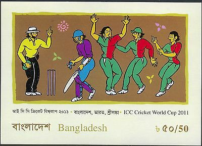 Bangladesh 2011 ICC Cricket World Cup Artist's impression Cricket match SS MNH