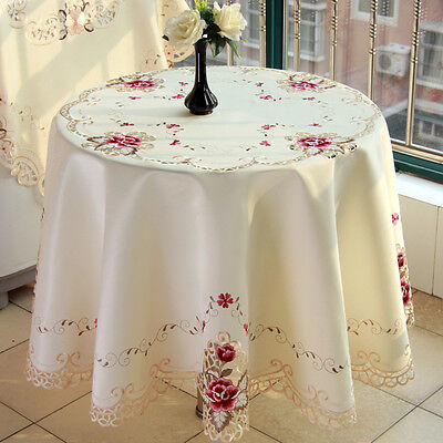 YAZI Embroidered Cutwork Peony Wedding Tablecloth Round Table Cloth Cover 150cm