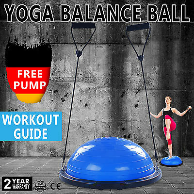 "23"" Bosu Balance Yoga Trainer Ball Kit W/ Pump Fitness Strength Aerobic POPULAR"