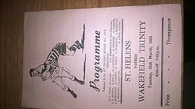 16/3/1965 st Helens v Wakefield Rugby league programme