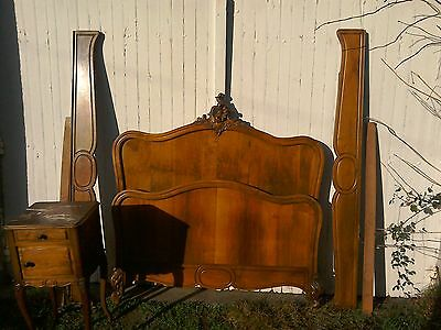 French antique vintage Louis Philippe style rococo double bed and bedside table