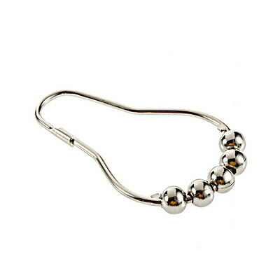 12 Polished Satin Nickel 5 Rollerball Shower Curtain Rings Curtain Hooks DG