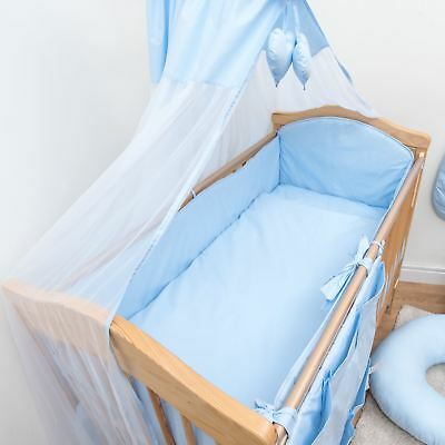 5 Piece Baby Cot Bedding Set With 4 sided Bumper to fit 120x60 cm - Plain Blue