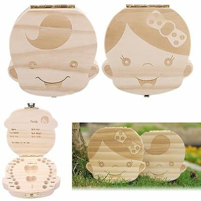 Tooth Box organizer baby Save Milk teeth Wood storage box for kids Boy&Girl Gift