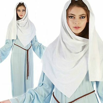 Ladies Womens Virgin Mary Costume Nativity Christmas Play Fancy Dress Party