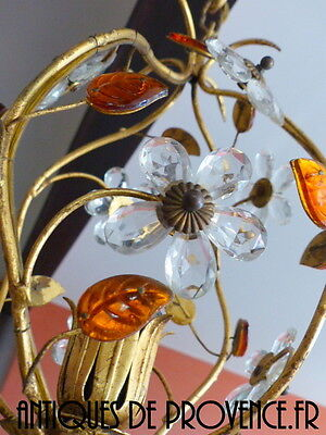 Antique Rare Little French Chandelier Gilt metal Attributed to BAGUES 1950