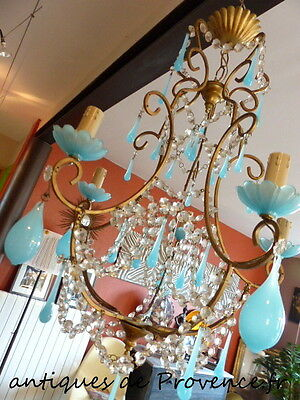 Antique Rare French chandelier beads blue opaline drop gilded 1920 lustre goutte