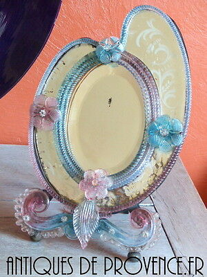 OMG Antique 1880 Etched Mirror Murano Glass Flowers Venetian Psyche Miroir RARE