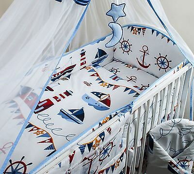 6 Piece Baby Cot Bedding Set With 4 sided Bumper to fit 140x70 cm - Pattern 16
