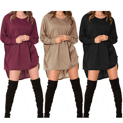 Femme ISASSY Robe Pull-over Manches Longues Haut Long Décontracté
