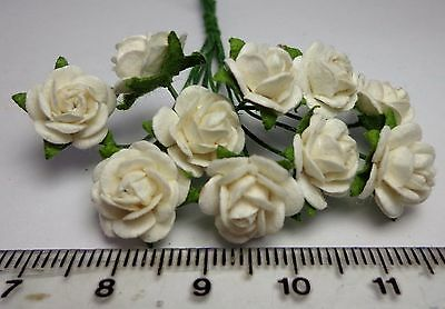 1:12th  Dolls House Miniature Pack Of 10 White Roses