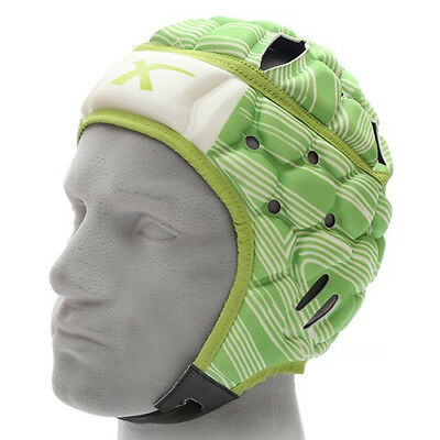 X Blades Wild Thing Rugby Headguard Scrum Cap Head Protection Green/White