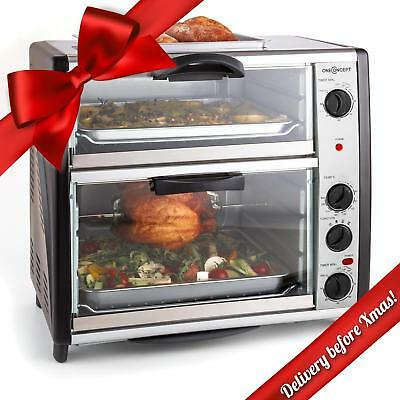 New Large Oven 42 L 2 Chambers Automatic Kitchen Rotisserie Grill Microwave