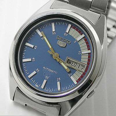 Japan Seiko 5 Automatic 7009 17 Jew Day/date Blue Dial For Men Stanless Steel