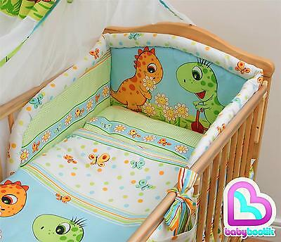 5 Piece Bedding Set with Thick Bumper for 140x70 cm Baby Cot Bed - Pattern 19