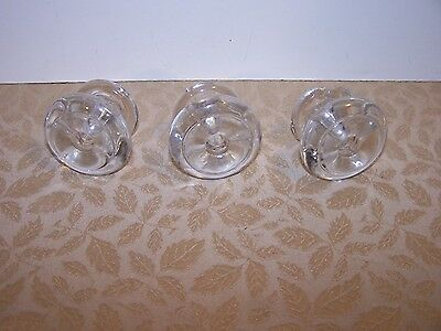 Lot Of 3 Antique  Round Glass Furniture Knobs