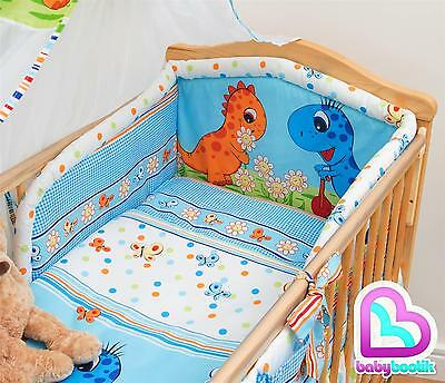 6 Piece Bedding Set with Thick Bumper for 140x70 cm Baby Cot Bed - Pattern 20