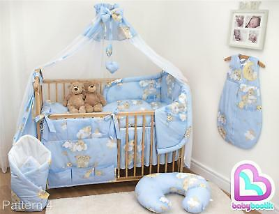 10 Piece Baby Bedding Set with Thick Bumper for 120x60 cm Cot - Pattern 4