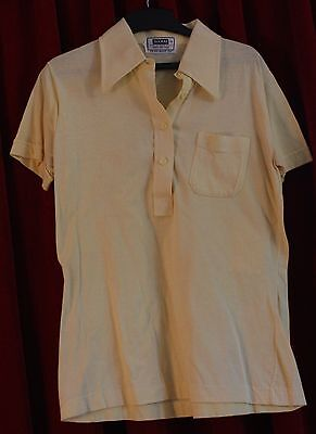 SMALL  MENS, YELLOW 1970's COTTON BODY SHIRT. ORIGINAL VINTAGE.