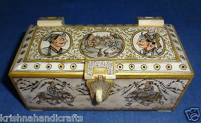 Vintage Look Decorative Mughal Painted Solid Camel Bone Trinket Collection Box