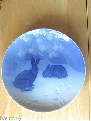 1920 Bing Grondahl Denmark Christmas Plate Rabbits In The Snow =