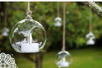 6/12/18Pcs 10Cm Christmas Glass Bauble Tealight Candle Tree Hanging Decor Balls