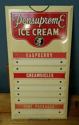 VTG Pennsupreme Ice Cream Menu Board Sign with William Penn Graphic Reading, PA