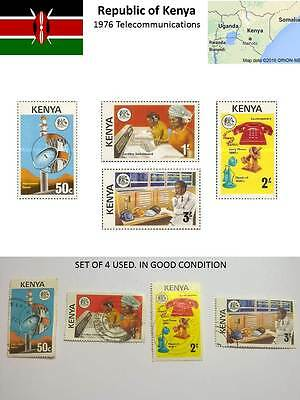 Kenya Republic Stamps Telecom 1976 set USED in good condition