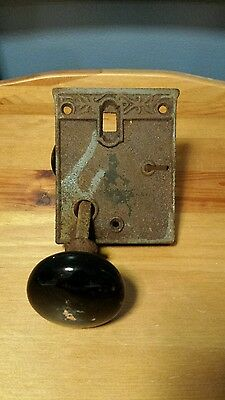Vintage black ceramic door knob set with cast iron Door Plate