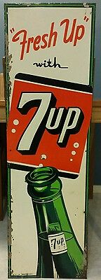 """RARE VTG 1954 FRESH UP WITH 7UP Embossed Tin SIGN 42.5"""" X 13"""" - MADE IN USA"""
