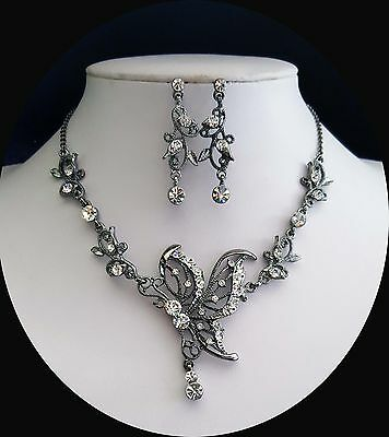 Vintage Butterfly Necklace & Earrings Set Clear Crystals Bridal Jewelry N3024A