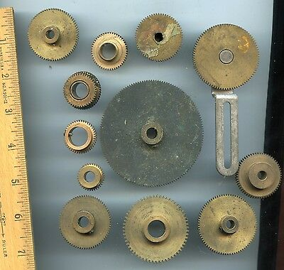 12 brass gears, assorted types & sizes
