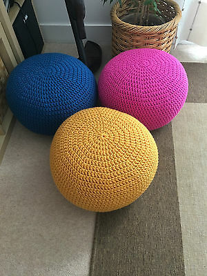 Handmade crochet/knitted poufs/ pouffe/footstools Some ready for dispatch!