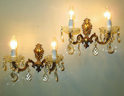 Superb Pair Vintage French Wall Lights Sconces Glass Cups & Droplets Appliques