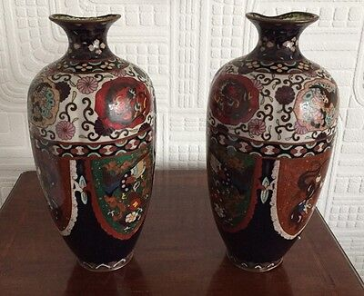 Stunning Pair Of Large Antique Cloisonne Vases