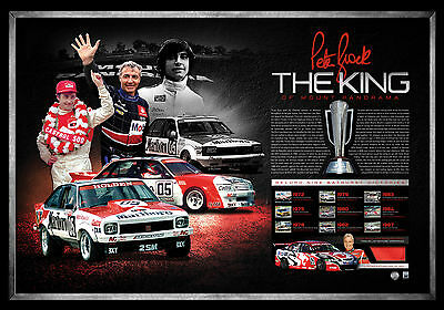 The King – Peter Brock Signed Framed Tribute Lithograph Piece Of Race Jacket