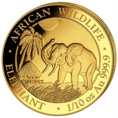 Goldmünze Elefant Somalia 100 Shilling 2017 1/10oz 999,9er Gold