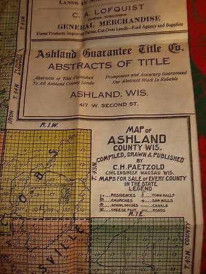 Ashland County Wisconsin Antique MAP 1917