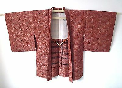 Vintage authentic handmade Japanese wine red Haori jacket with himo (J569)