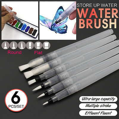 6 Size Water Soft Painting Brush Pen Paint For Watercolor Reusable Calligraphy