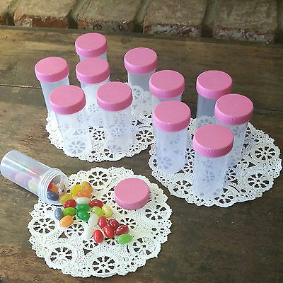 12 Plastic Pill Bottles Party Candy JARS PINK LIDS RX 1.50 oz Container 3814 USA