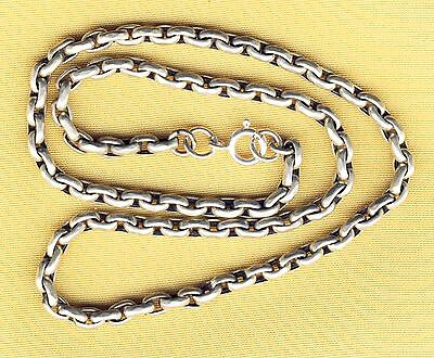"""Antique Victorian Substantial Solid Silver Sterling Chain 16"""" 12.5gms"""