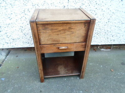 vintage/retro oak sewing box with drawer