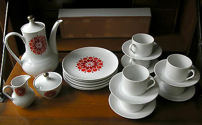 Retro Mid-Century Mod Winterling Coffee & Dessert Set For 6 With Modern Cups